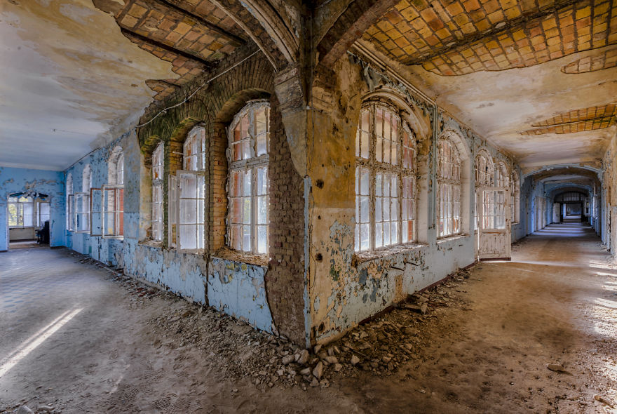 abandoned decay corridor in a hospital